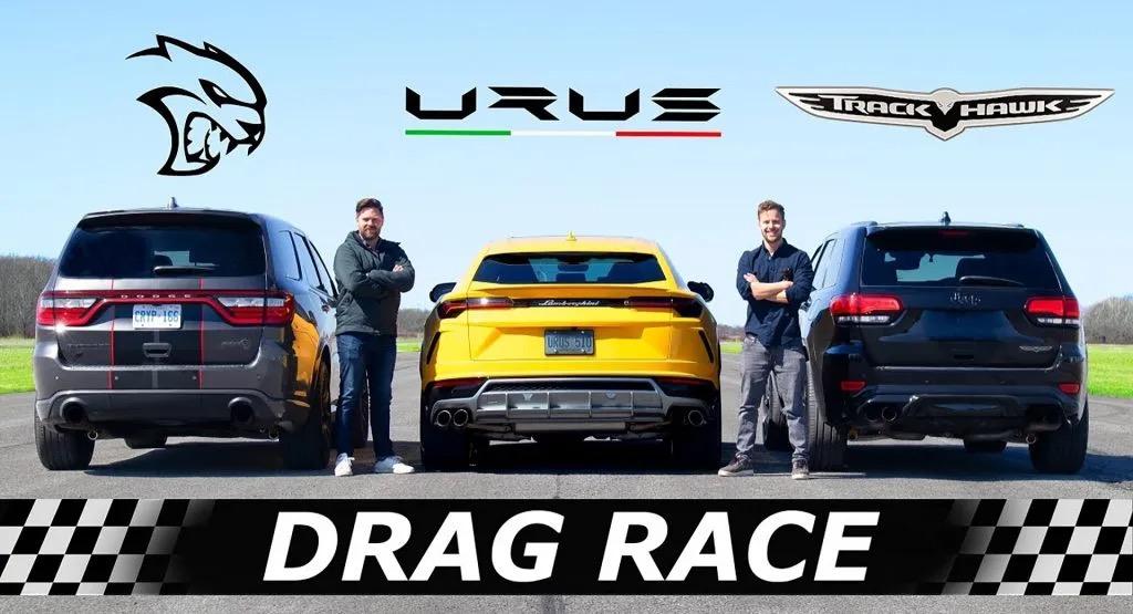 Lamborghini Urus: la Drag Race contro il Grand Cherokee Trackhawk e il Dodge Durango Hellcat [VIDEO]