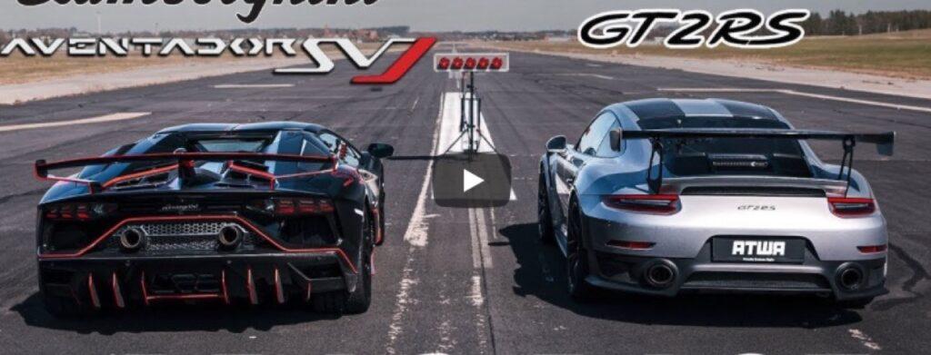 """Lamborghini Aventador SVJ vs Porsche 911 GT2 RS: DRAG RACE tra """"pesi massimi"""" [VIDEO]"""