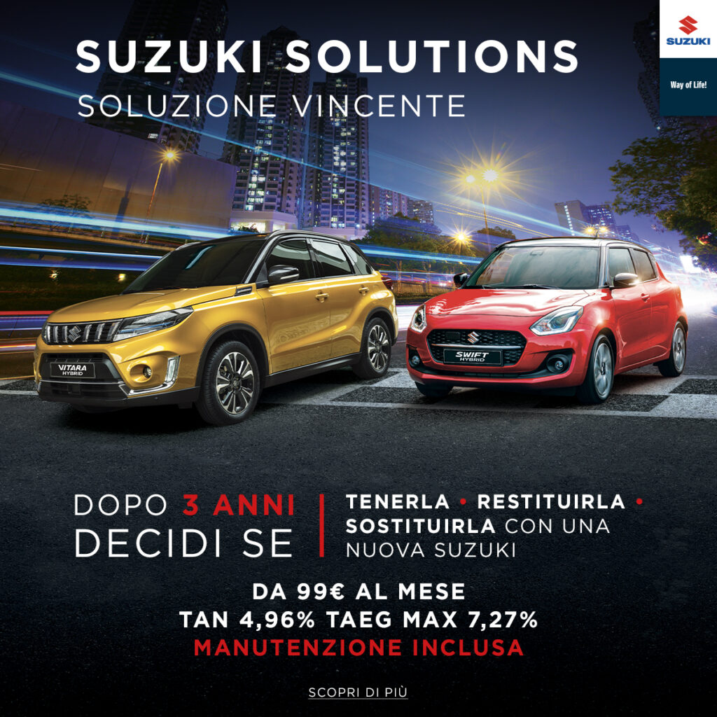 Suzuki Solutions: nuovo piano finanziario a 48 mesi e con tre tagliandi in omaggio