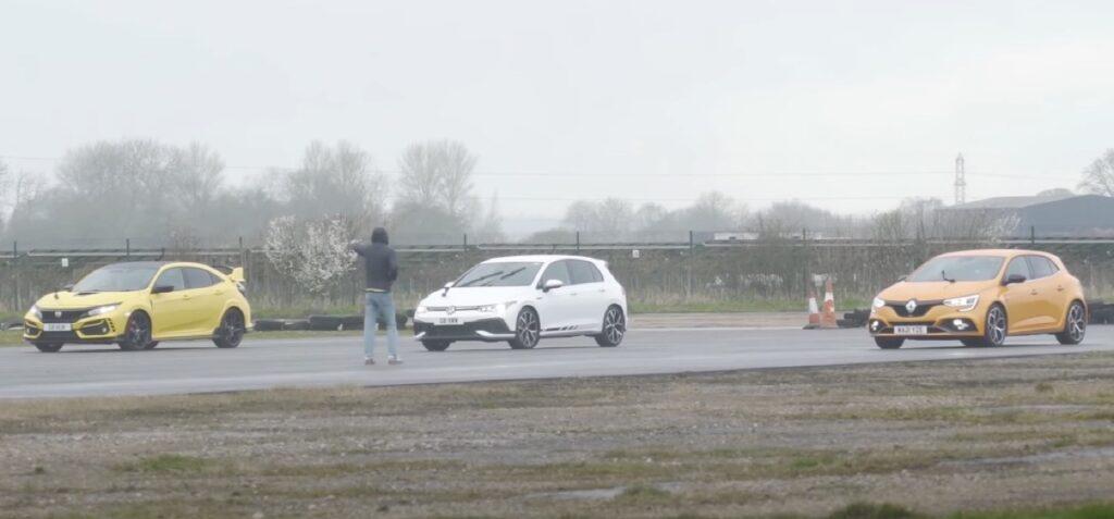 HotHatch: la drag race tra Golf 8 GTI, Megane RS e Honda Civic Type R [VIDEO]