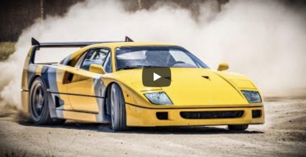 Ferrari F40: l'iconica supercar tutta di traverso sullo sterrato [VIDEO]